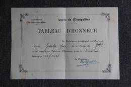 Diplome, Académie De MONTPELLIER , Lycée De MONTPELLIER: Tableau D'Honneur ( 1937/1938) - Diplômes & Bulletins Scolaires