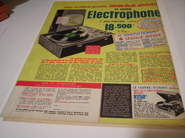 ANCIENNE PUBLICITE ELECTROPHONE VALISE 1958 - Musique & Instruments