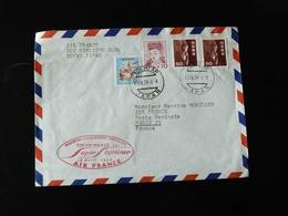 LETTRE PAR PREMIERE LIAISON AERIENNE TOKYO - PARIS  13 AVRIL 1958 PAR SUPER STARLINER - Airmail