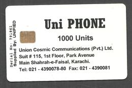 PAKISTAN USED CHIP PHONECARD 1000 UNITS UNI PHONE - Pakistan