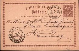 ! 1874 Ganzsache P1 Deutsches Reich, Berlin PA18, Hufeisenstempel Hamburg, An Die NY Hamburger Gummi Kamm Compagnie - Germany