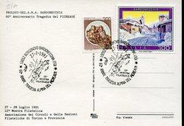 34302 Italia, Cart.speciale E Annullo Borgonovo Bardonecchia 1991 Tragedia Alpini Del Pricreaux - Militaria