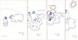 Lot De 7 CP Représentant Des Dessins De P.E.Victor. Le Tout Dans Une Enveloppe Avec La Signature Autographe De PEV - TAAF : Terres Australes Antarctiques Françaises