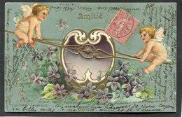 CPA - Illustration - Anges Sur Une Balançoire Coeur - Carte En Relief  (dos Non Divisé) - Angels