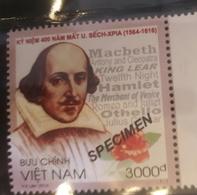 O)2016 VIETNAM, SPECIMEN, WILLLIAM SHAKESPEARE -DRAMATURGO-WRIGHT, MNH - Viêt-Nam