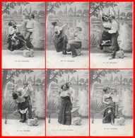 6 CPA FANTAISIES. Au Lac D'Enghien. Couple D'amoureux Sur Une Balançoire, Trinquant (série Complète)...D433 - Couples