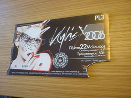 Kylie Minogue Ticket D'entree Music Concert In Athens Greece 2008 - Concert Tickets