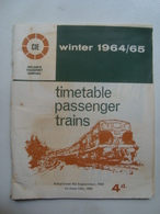 CIE. IRELAND'S TRANSPORT CO. TIMETABLE PASSENGER TRAINS. WINTER 1964/65 - IRELAND, 1964. - Transportation Tickets