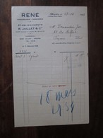 Ancienne Facture En-tête -1933 René - Chaussures Chemiserie (r Jaillet)   Béziers (34 Hérault) - Francia