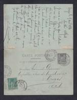 Entier Postal Double Carte Réponse  Paix Et Commerce 10c Avec Timbre Complement 5c De Paris à Troyes - Entiers Postaux