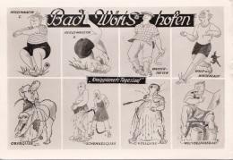 KARIKATUR BAD WÖRISHOFEN Kneippianers Tageslauf Karte Gel.1958, Transportspuren - Humor