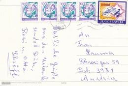 JUGOSLAVIJA 1989 - 5 Fach Frankierung Auf Ak Hotel Alga TUCEPI - 1945-1992 Sozialistische Föderative Republik Jugoslawien
