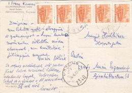 UNGARN 1972 - 5 Fach Frankierung Auf Ak LILLAFÜRED Hotel Palota, Gel.v. Ungarn > Mödling, Transportspuren - Ganzsachen