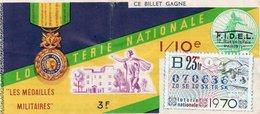 BILLET  DE  LOTERIE  LES MEDAILLES MILITAIRES 1970 - Billets De Loterie