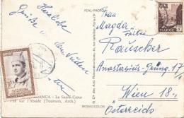 MAROC 196? - 3 Fach Frankierung Auf Ak CASABLANCA Gel.v. Maroc > Wien, Transportspuren, Eine Abgelöste Marke - Marokko (1956-...)