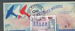 BILLET  DE  LOTERIE  LES AILES BRISEES  Les Mureaux 1968 - Billets De Loterie