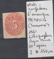 TIMBRE DES ETATS-UNIS OBLITERE Nr 2* ETAT CONFEDERES 1861 TENESSEE COTE 150 EURO - 1861-65 Etats Confédérés