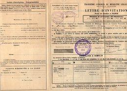 VP12.135 - LYON 1913 - 3è Congrès De Médecine - Lettre D'invitation Pour Se Rendre De CAEN à PARIS Par Le Chemins De Fer - Titres De Transport