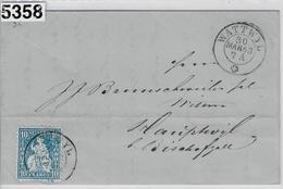 1863 Helvetia 31/23 Wattwyl Via Bahnpost Zürich-St. Gallen, Gossau To Hauptwil 30. Mar 63 - 1862-1881 Helvetia Assise (dentelés)