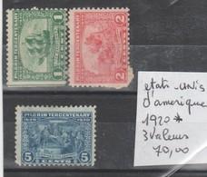 TIMBRE DES ETATS-UNIS NEUF Nr3 VALEURS  *  COTE 70 EURO - Neufs