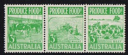 Australia. 1953 Food Production. Strip Of 3. MH - 1952-65 Elizabeth II: Dezimalausgaben (Vorläufer)