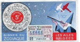 BILLET  DE  LOTERIE  LES AILES BRISEES Signes Du Zodiac 1970 - Billets De Loterie