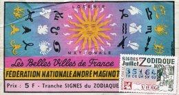 BILLET  DE  LOTERIE  FEDERATION NATIONALE ANDRE MAGINOT Les Belles Villes De France 1970 - Billets De Loterie