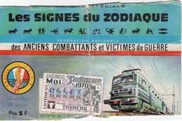 BILLET DE LOTERIE FEDERATION NATIONALE DES ANCIENS COMBATTANTS ET VICTIMES DE GUERRE  Les Signes Du Zodiac 1970 - Billets De Loterie