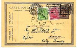 EP 58 BRUXELLES (MIDI) 1922  En Service Local - REEXPEDIE Et REAFFRANCHI Par TP 137-138 BXL V. EGLETON (Corrèze). TB - Postcards [1909-34]