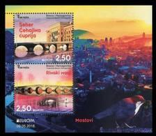 Bosnia And Herzegovina 2018 Europa CEPT, Bridges Bruecken Ponts Architecture, Swan, Block, Souvenir Sheet MNH - 2018