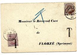 N° 135 FLOREFFE 1920 S/CP V. FLORZE - Taxée 20c Par TTx  20 - Stamps