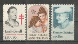ETATS-UNIS. Femmes Celebres Americaines: Emily Bissel, Helen Keller,Frances Perkins.  3 Timbres Neufs ** - Nuovi