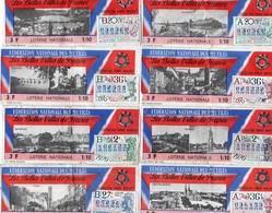 8 BILLETS DE LOTERIE LES BELLES VILLES DE FRANCE *Nantua *Saumur *Bayonne *Reims *Chateauroux *Rennes *Colmar *Bordeaux - Billets De Loterie