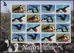 NAURU 2008 BIRDS WWF ENDANGERED SPECIES SHEET MNH - Nauru
