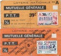 2 BILLETS DE LOTERIE MUTUELLE GENERALE DES P.T.T. 1970 - Billets De Loterie