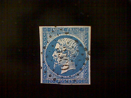 France, Scott #15,used (o), 1854, 2nd French Empire, Emperor Napoleon III, 20 Centimes - 1853-1860 Napoleon III