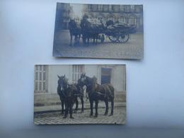 CPA CARTE PHOTO ATTELAGE NANTES PARIS ? 2 CARTES POSTALES - Cartes Postales