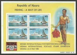NAURU 1981 FISHING FISH BOATS WIPA 81 VIENNA STAMP EXHIBITION M/SHEET MNH - Nauru
