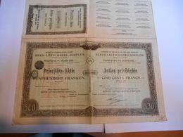 ACTION SUISSE Cie DU CHEMIN DE FER DES ALPES BERNOISES - BERNE-LOETSCHBERG-SIMPLON 1908 - Chemin De Fer & Tramway