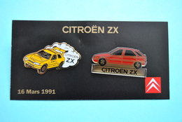 Plaquette 2 Pin's Citroen ZX - Du 16.03.1991 - Citroën