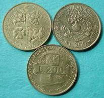 Italie - 200 Lire Commémoratives 1993 - 1994 - 1996 Lot 3 Pièces De Monnaie Superbes - 1946-… : République