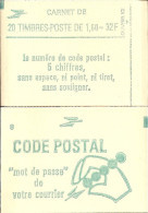 """CARNET 2219-C 2 Liberté De Delacroix """"CODE POSTAL"""" Carnet De 20 Timbres Fermé. Etat Parfait RARE - Libretas"""