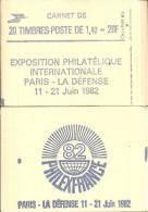 """CARNET 2186-C 1 Liberté De Delacroix """"PHILEXFRANCE 82"""" Carnet De 20 Timbres Fermé Bas Prix RARE - Carnets"""