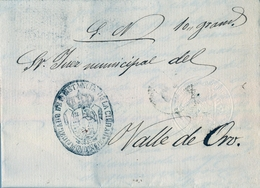 1872 , LUGO , CARTA CIRCULADA ENTRE MONDOÑEDO Y VALLE DE ORO , MARCA DEL JUZGADO DE 1ª INSTANCIA DE LA CIUDAD - 1872-73 Königreich: Amédée I.