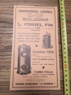 PUBLICITE 1935 TUBES CHAUDIERES FIELD FLORIEL FILS LYON LELORRAIN FORGES DE BOBIGNY - Collections