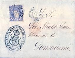 1870 , GERONA , SOBRE CIRCULADO , CALONGE - SANSADURNÍ , MARCA DE LA ALCALDIA CONSTITUCIONAL DE CALONGE , MAT. LA BISBAL - 1868-70 Gobierno Provisional
