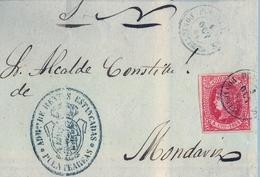 1864 , PONTEVEDRA , FRONTAL CIRCULADO PUENTEAREAS - MONDARIZ , FECHADOR Y MARCA ADMON. RENTAS ESTANCADAS / PUENTEAREAS - Lettres & Documents