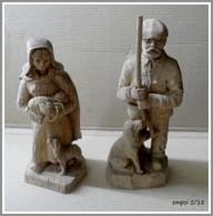 Lot 2 Jolies Sculptures En Bois - Berger Et Bergere - Wood