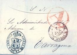 1850 , HUELVA , ENVUELTA CIRCULADA A TARRAGONA ,  MARCA DE LA ADUANA NACIONAL DE LA ISLA CRISTINA , MARCA DE ABONO - ...-1850 Voorfilatelie