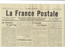La FRANCE POSTALE Du 22 Aout 1914 - La Correspondances Aux Armées - Journaux - Quotidiens